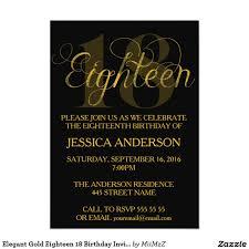 elegant gold eighteen 18 birthday invitation eighteen eighteenth