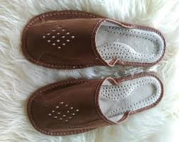 Mens Leather Bedroom Slippers by Mens House Slippers Etsy