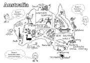 australia a black and white map for young learners editable