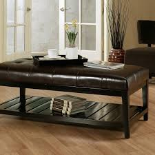 furniture elegant ottoman coffee table tufted leather two