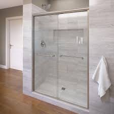 Seamless Glass Shower Door Basco Infinity 47 In X 70 In Semi Frameless Sliding Shower Door