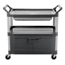 rubbermaid service cart with cabinet rubbermaid fg409400 gray 3 level polymer utility cart w 300 lb