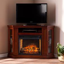clement brown mahogany corner media infrared fireplace electric