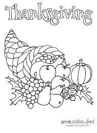 thanksgiving cornucopia coloring page print color fun