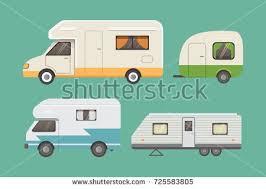 retro camper trailer collection car trailers stock vector