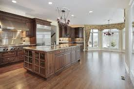 Wood Stained Cabinets Stainless Steal With Beautiful Medium Wood Stained Cabinets Is A
