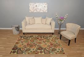 Rubber Backed Area Rugs by Amazon Com New Multi Paisley Design Rubber Backed Durable Area