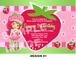 Invitation Card With Photo Strawberry Shortcake Birthday Invitations Kawaiitheo Com