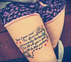Quote Thigh - in thigh quote tats piercings