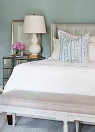 Wingback Tufted Headboard Tobi Fairley Soothing Blue Bedroom With Blue Paint Color And