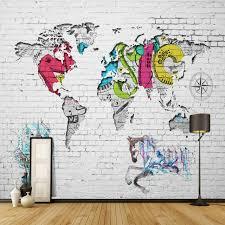 t駘騅ision pour chambre 3d moderne mural papier peint carte du monde brique fond de papier