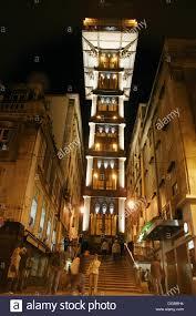 gustave eiffel apartment santa justa elevator by gustave eiffel at night lisbon portugal