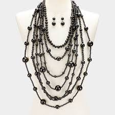 photo pearl necklace images Black chanel pearl necklace set jpg