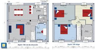 plan maison etage 3 chambres plan de construction de forme carrée avec un étage et 3 chambres