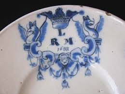 monogrammed plate a delft blue and white monogrammed plate dated 1688