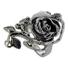 black silver rings images Big size rose and and leaf sterling silver ring black oxidized jpg