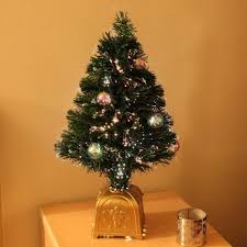2ft artificial fibre optic table top christmas tree qith bauble