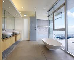 Contemporary Bathroom Designs by Elegant Modern Bathroom Design With Plaid Dark Tub Platform Also