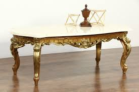 vintage marble coffee table sold carved gold bronze finish vintage coffee table marble top