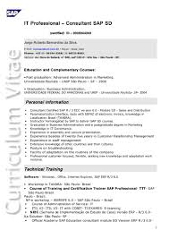Sap Sd Consultant Resume Sample by Sap Sd Resume 1 Year Experience Contegri Com