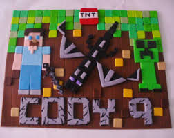 minecraft edible cake topper minecraft steve creeper ore edible fondant cake topper