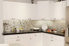 l shape white kitchen decoration using mirrored kitchen backsplash