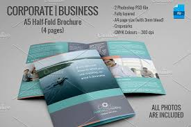 one sided brochure template a5 half fold brochure 4 pages brochure templates creative market