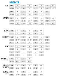 motocross youth boots size chart
