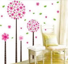 kinderzimmer wandsticker rosa löwenzahn blumen baum romantische wandtattoo kinderzimmer