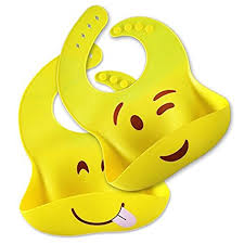 clean emoji amazon com silicone bib a set of 2 yellow emoji printed bibs with