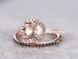 morganite bridal set 2 morganite bridal set engagement ring gold black diamond