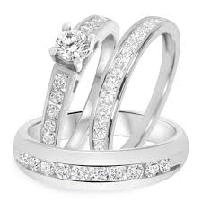 wedding ring trio sets 1 12 ct tw diamond trio matching wedding ring set 14k white gold