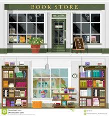 set of vector detailed flat design bookstore facade and interior
