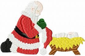 santa kneeling at the manger santa kneeling at manger 4x4 filled jpg members gallery clausnet