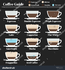 espresso macchiato double coffee guide set drinks different stock vector 377217043