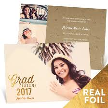 announcements for graduation foil graduation announcements custom designs from pear tree