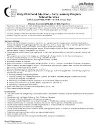Teacher Resume Examples Resume Sample For Ece Teacher Templates