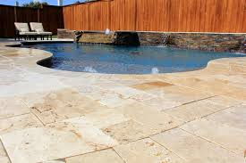 pool fancy pool deck design with cream stamped concrete material