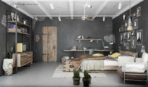 interior gray industrial bedroom with unfinished wheat wood