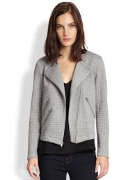 moto jacket generation love duncan quilted knit moto jacket in gray lyst