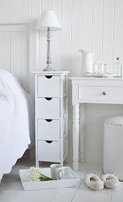 Skinny Storage Drawers White Narrow Bedside Table With Four Drawers Perfect For When