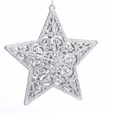 3d filigree silver glitter ornament ornaments