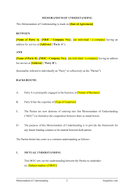 mou partnership agreement template 28 notice of termination of