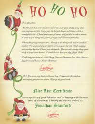 personalized letter from santa santa list certificates list santa letter certificate