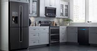 what color cabinets match black stainless steel appliances 2021 appliance color options black stainless black slate