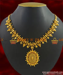 gold new designs necklace images Nckn266 trendy latest gold like imitation necklace antique jpg