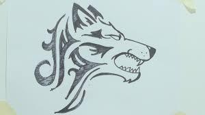 how to draw a tribal wolf head tattoo رسم ذئب 1 youtube