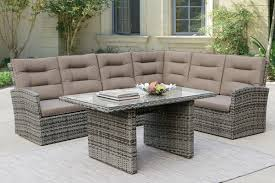 Sectional Table Poundex P50293 Outdoor Patio 5 Pcs Sectional Conversation Set