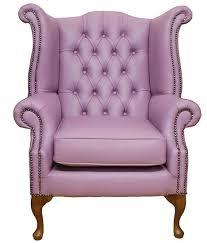 Traditional Leather Armchairs Uk Chesterfield Queen Anne High Back Wing Chair Uk Manufactured Lilac
