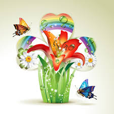 Flower Butterfly Tattoos 01 Fresh Flowers And Butterfly With Background Vector 01 Butterfly